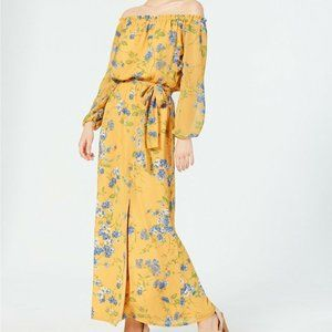 INC Maxi Dress Yellow Floral 12 New